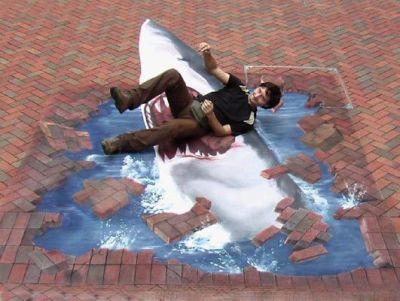 Shark - 3D Chalk Art